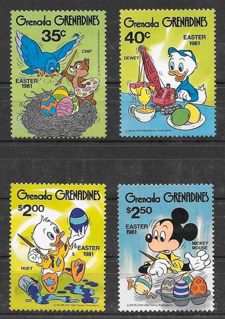 sellos Disney Grenadines 1981