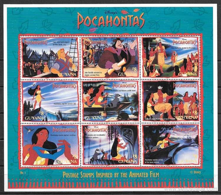 filatelia Disney Guyana 1995