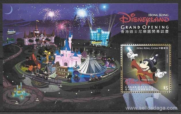 sellos colección Disney Hong Kong 2005