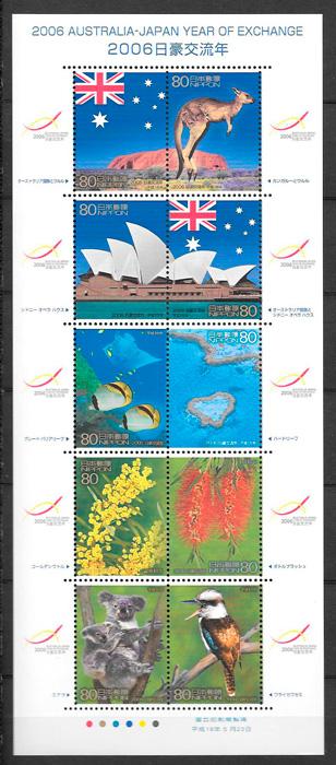 colección sellos emisiones conjunta Japón 2006