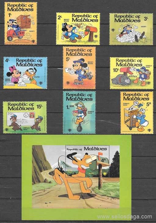 colección filatelia Disney Maldivia 1979