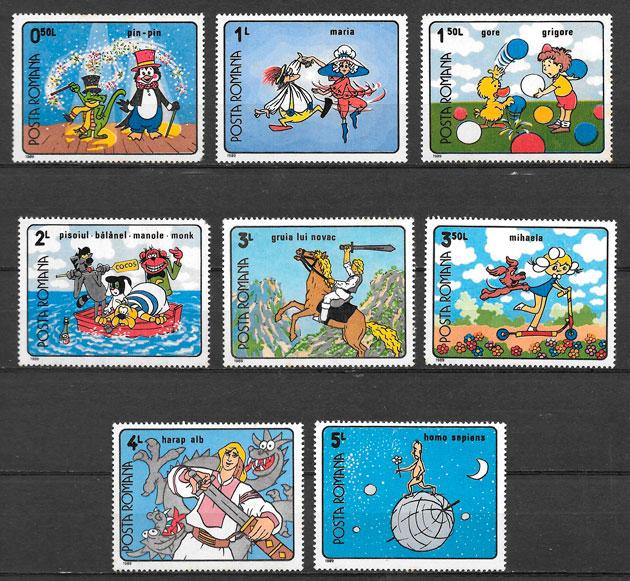 colección sellos disney Rumanía 1990