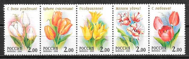 sellos flora Rusia 2000