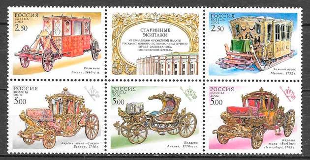 filatelia colección transporte Rusia 2002