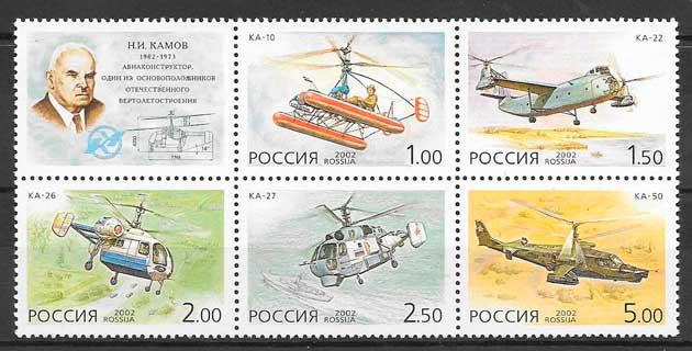 colección sellos transpporte Rusia 2002