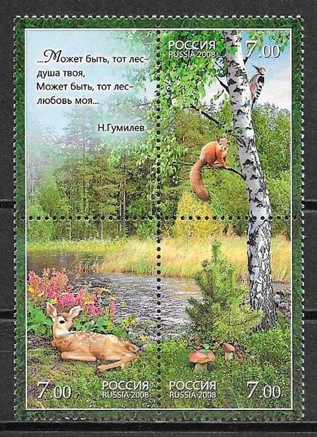 filatelia colección fauna y flora Rusia 2008