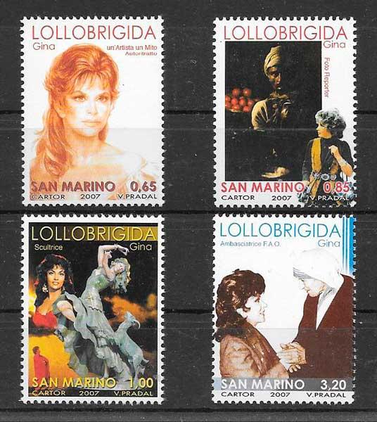 sellos filatelia cine San Marino 2007