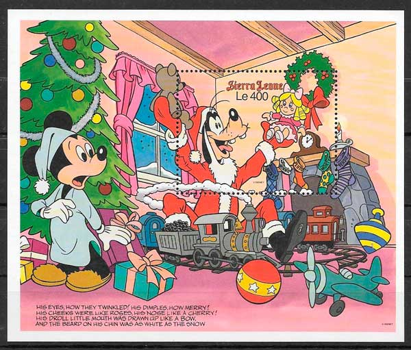 filatelia Disney Sierra Leona 1990