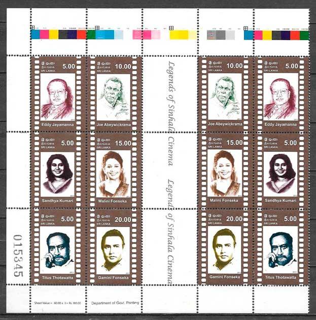 filatelia cine Sri Lanka 2012
