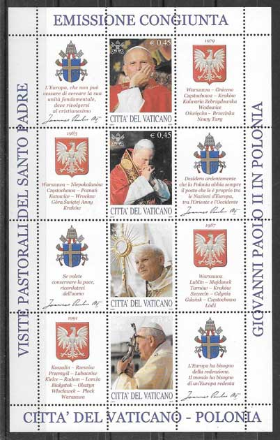 sellos Emisión Conjunta Vaticano 2004