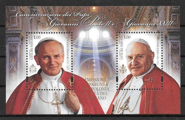 Filatelia Emisión Conjunta Vaticano 2014