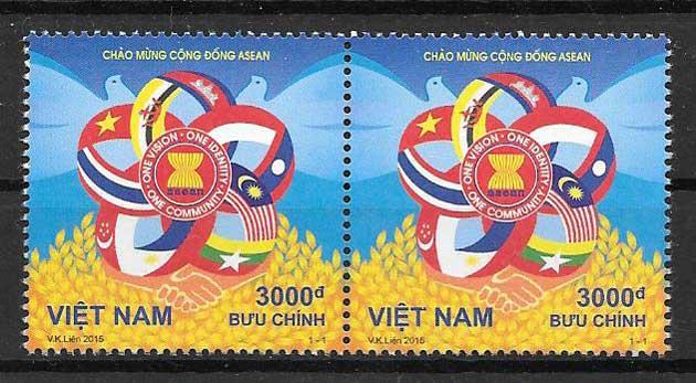 sellos Emisión Conjunta Viet Nam 2015