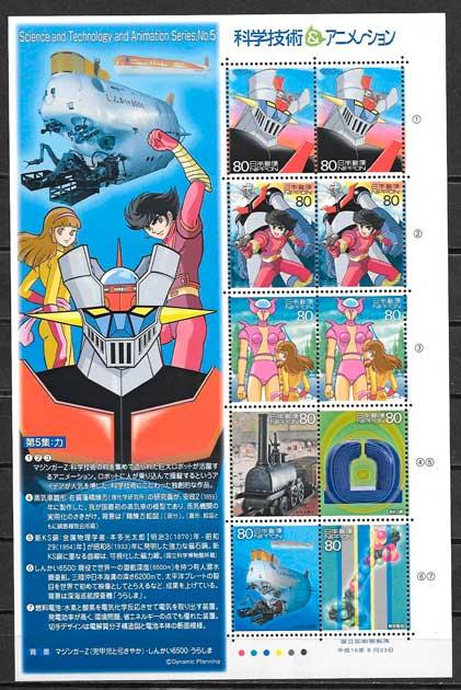 filatelia colección cómic 2004 japón