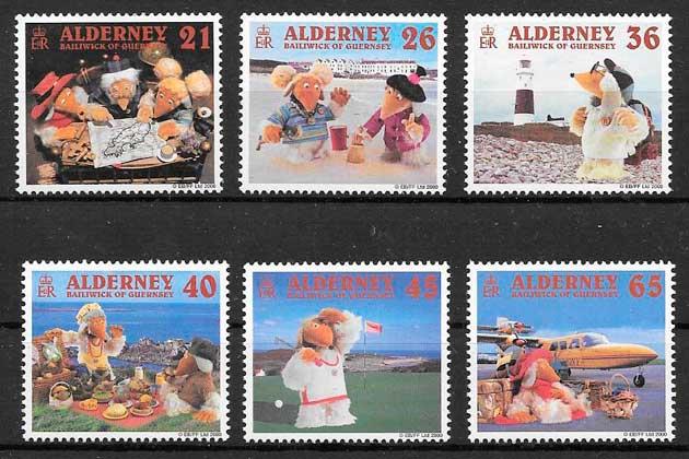colección sellos cómic Alderney 2000