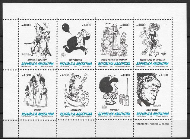 filatelia colección cómic 1991 Argentina