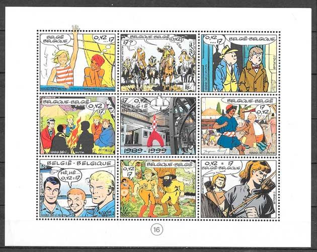 colección sellos cómic Bélgica 1999