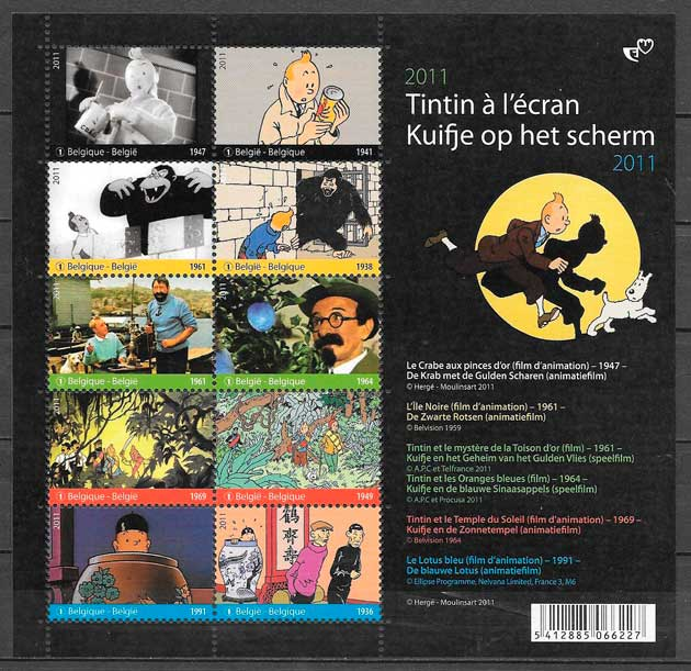 sellos cómic Bélgica 2011