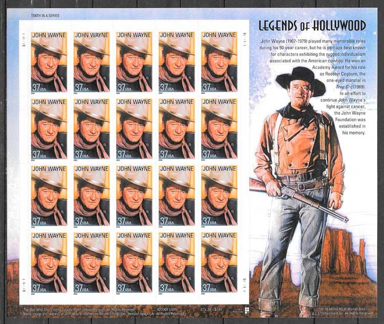 filatelia colección cine USA 2004