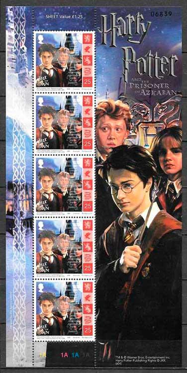 filatelia Harry Potter Gran Bretaña isla de Man 2004