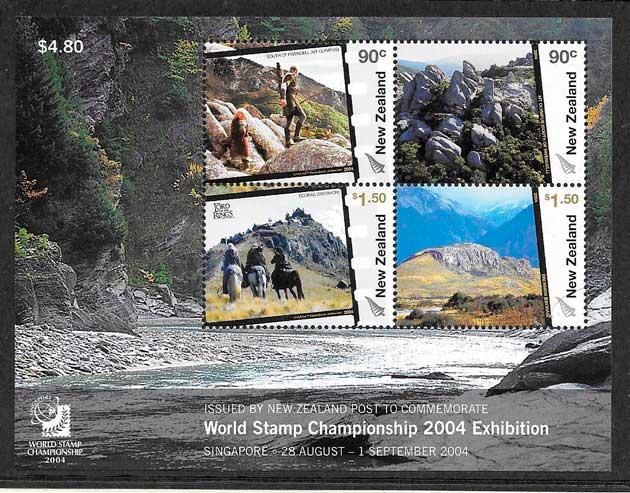 sellos colección cine Nueva Zelanda 2004
