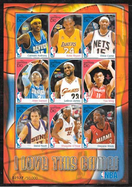 sellos colección NBA Gambia 2007