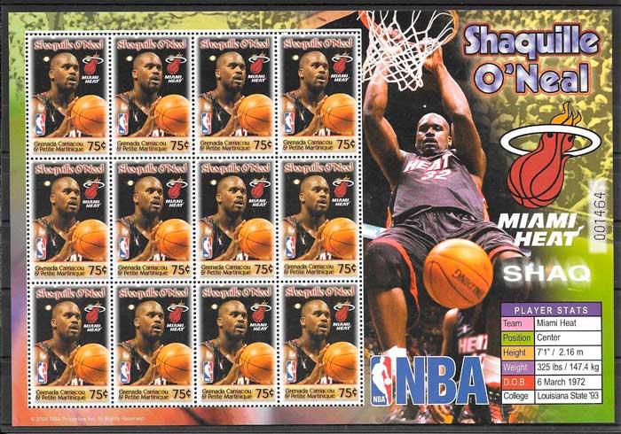 sellos colección NBA Grenadines 2005