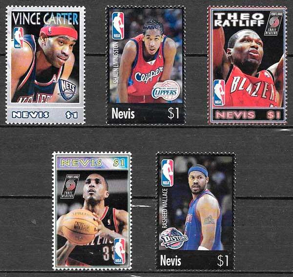 colección sellos NBA Nevis 2005