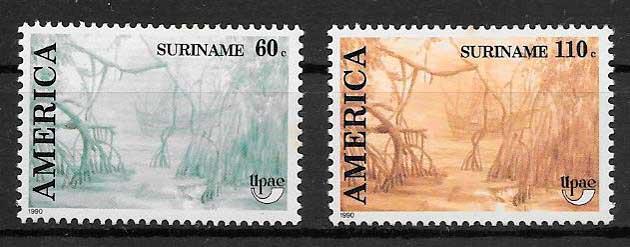 filatelia colección UPAEP Suriname 1990