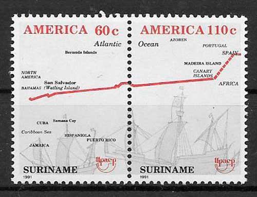 colección sellos UPAEP 1991 Suriname