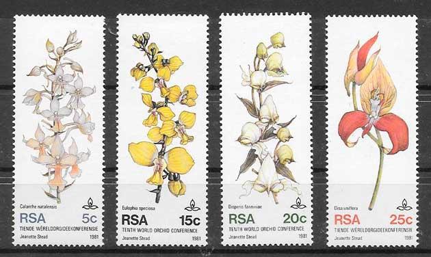 sellos orquídeas África del Sur 1981
