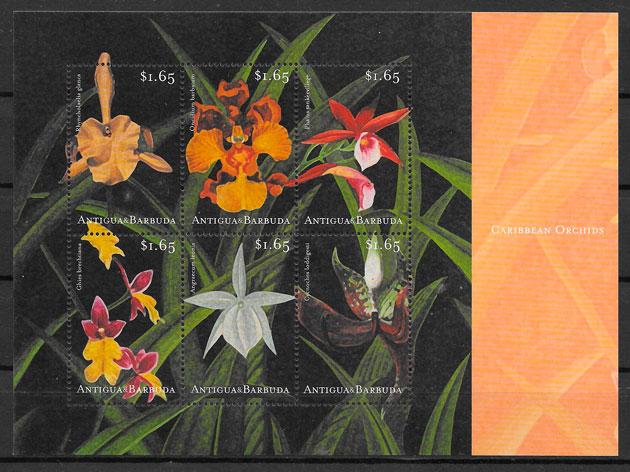 filatelia colección orquídeas Antigua 2001
