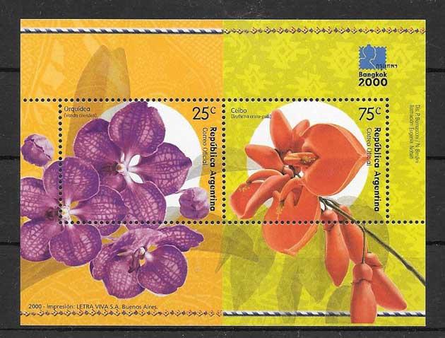 filatelia colección orquídeas Argentina 2000