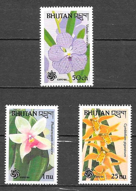 sellos orquídeas 1990 Bhutan