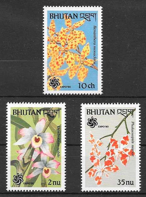sellos orquídeas Bhutan 1990
