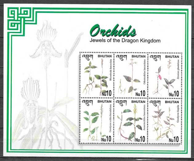 filatelia orquídeas Bhutan 2002
