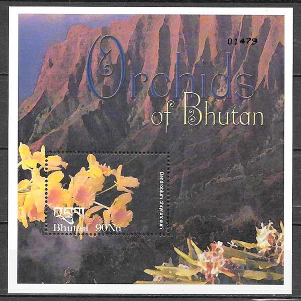 filatelia colección orquídeas Bhutan 2002
