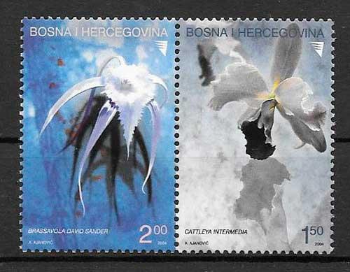 colección sellos orquídeas Bosnia Herzegovina 2004