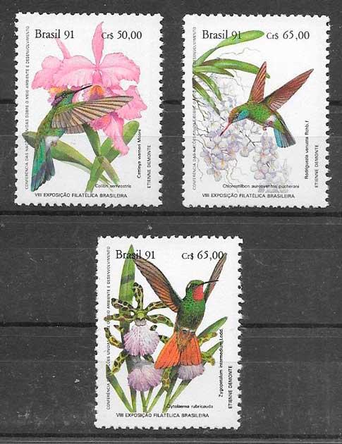 colección sellos orquídeas Brasil 1991