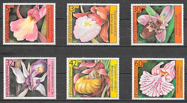 sellos orquídeas Bulgaria 1986