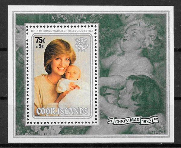 sellos Diana de Gales 1982 Cook Islands
