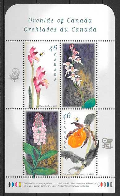 filatelia colección orquídeas Canadá 1999
