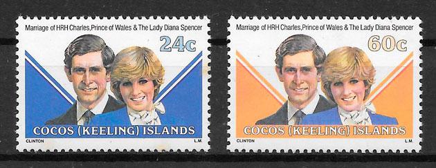 filatelia colección Diana 1981 Cocos Islands