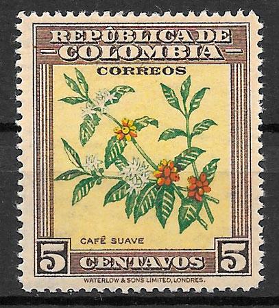 sello orquídeas Colombia 1947