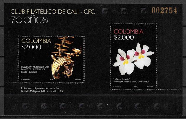 colección sellos orquídeas Colombia 2009