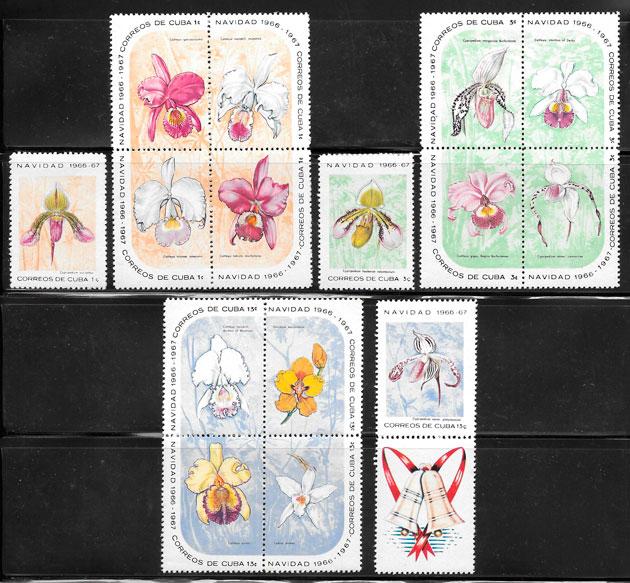 sellos orquídeas Cuba 1966