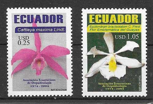 filatelia orquídeas Ecuador 2004