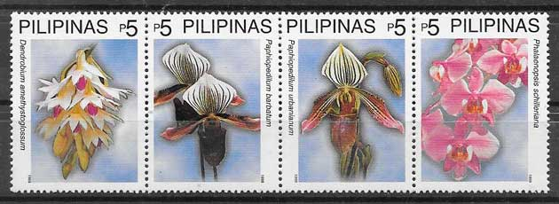 filatelia Filipinas orquídeas 1999