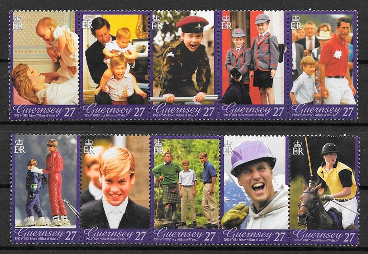 filatelia colección sellos Diana de Gales Guernsey 2003