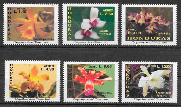 colección sellos orquídeas Honduras 2002