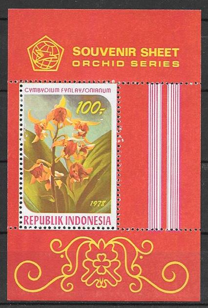 filatelia colección orquídeas Indonesia 1978